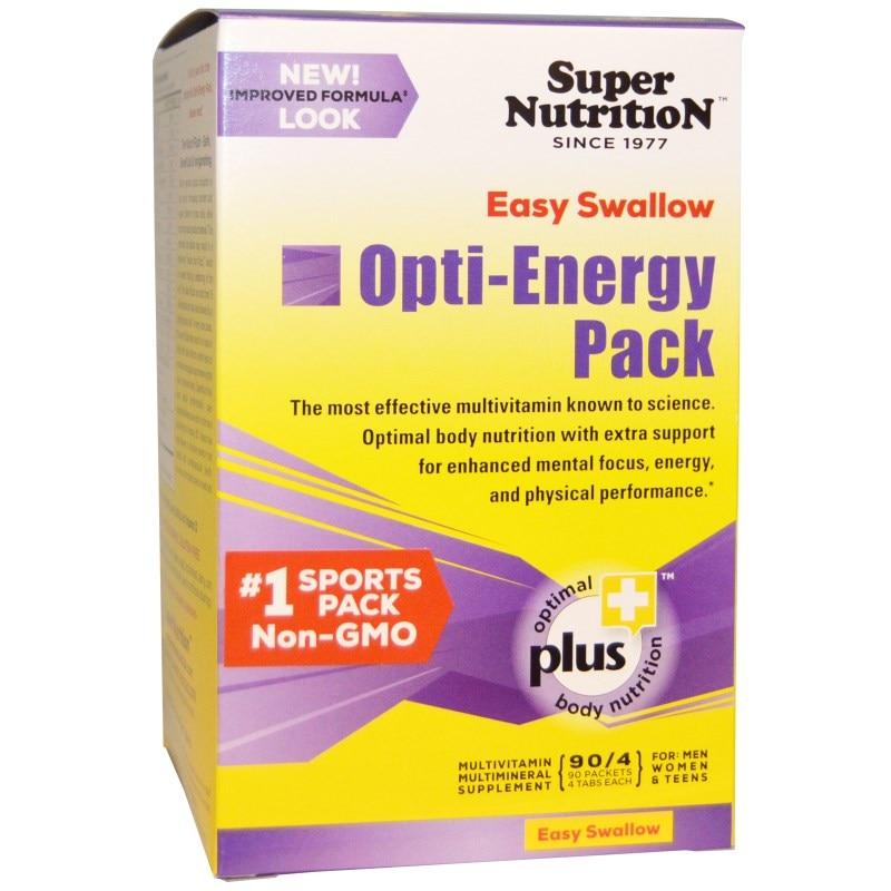 Super Nutrition, Набор Opti-Energy, мультивитаминно-минеральный состав (90 пакетиков по 4 таблетки)
