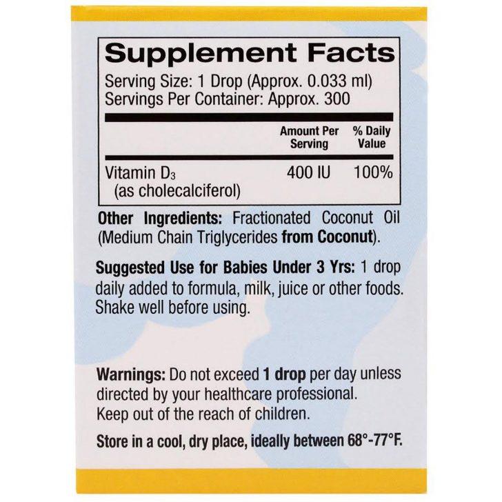 California Gold Nutrition, CGN, Витамин D3 в каплях для младенцев, 400 IU, 0.34 жидких унции (10 мл)