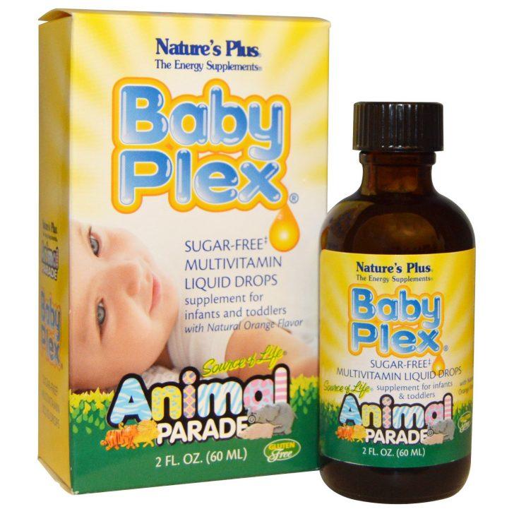 Nature's Plus, Source of Life, Animal Parade, Baby Plex, жидкие мультивитаминные капли без сахара, с натуральным вкусом апельсина