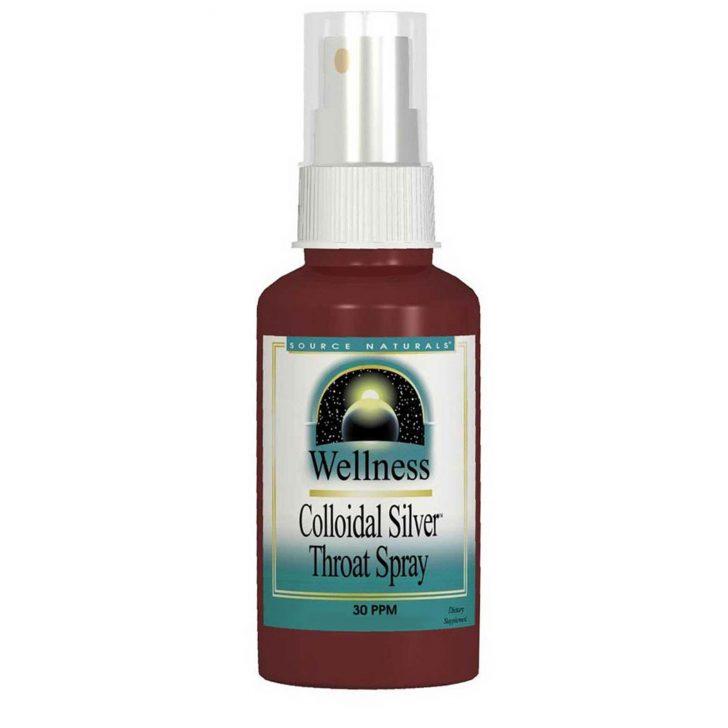 Source Naturals, Wellness, Коллоидное серебро в аэрозольной упаковке для горла, 30 PPM, 2 жидкие унции (59.14 мл)