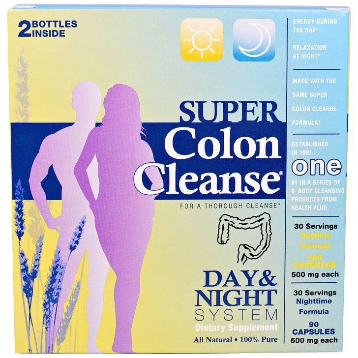 Health Plus Inc., 'Супер-чистка кишечника', средство для чистки толстого кишечника, курс для дня и ночи, набор из 2 флаконов