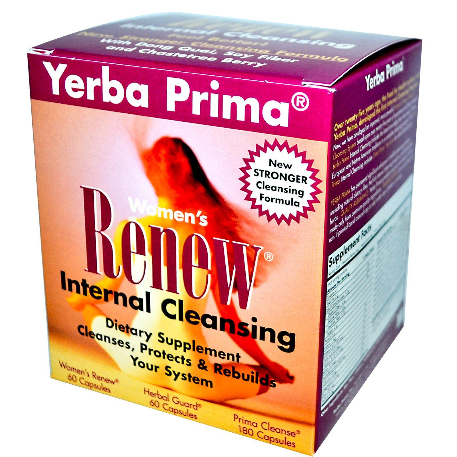 Yerba Prima, Набор для внутреннего очищения для женщин Women's Renew, программа, состоящая из 3 частей