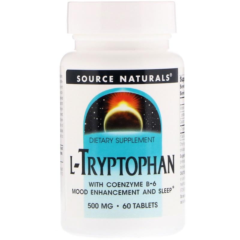 Source Naturals, L-триптофан с коэнзимом B-6, 500 мг, 60 таблеток
