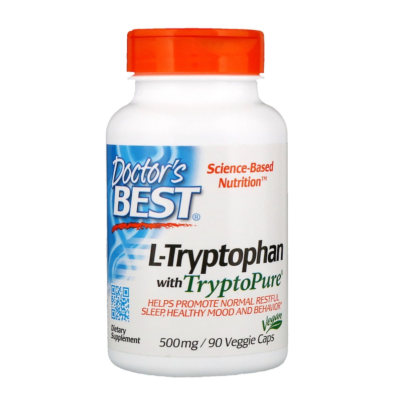 Doctor's Best, Best L-Tryptophan with TryptoPure, 500 mg, 90 Veggie Caps
