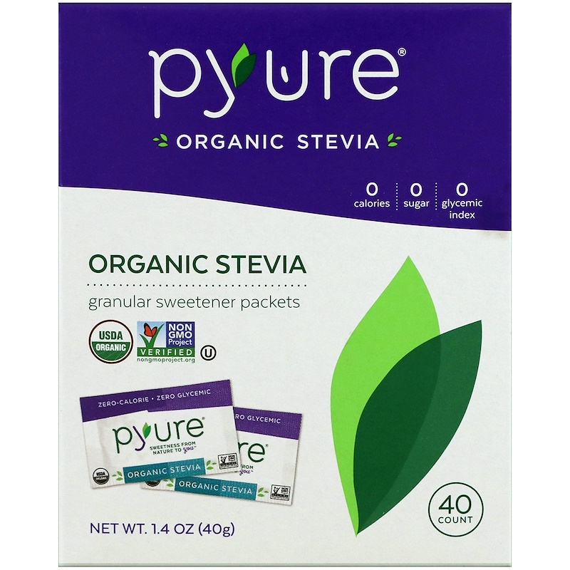 Pyure, Organic Stevia Sweetener Packets, 40 Count, 1.4 oz (40 g)